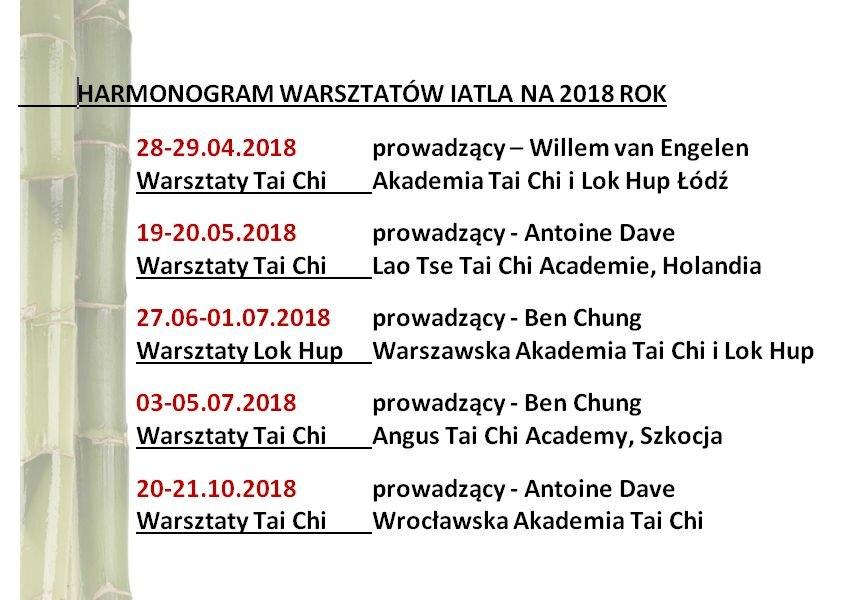 Warsztaty Tai Chi 2018